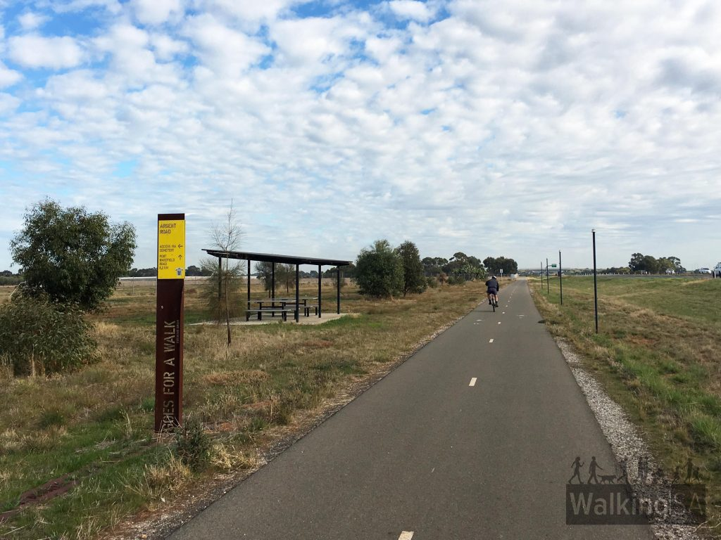 There is a shelter and picnic area near Argent Road, which is 8km from the start of the Stuart O'Grady Bikeway on Port Wakefield Road