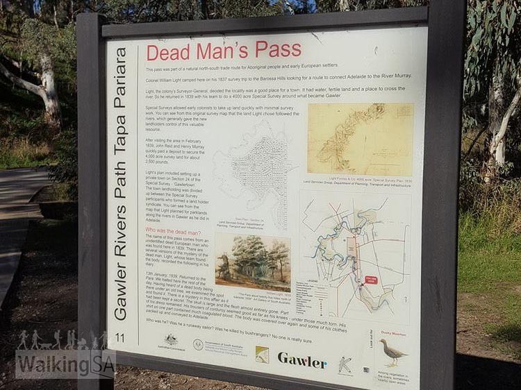 "There is interpretive signage along the way that tells the stories of the sites, including this one at Dead Man's Pass. The pass was so named after an incident in 1839 when a man of European descent was ""buried"" by being placed standing up in a hollow treek trunk"