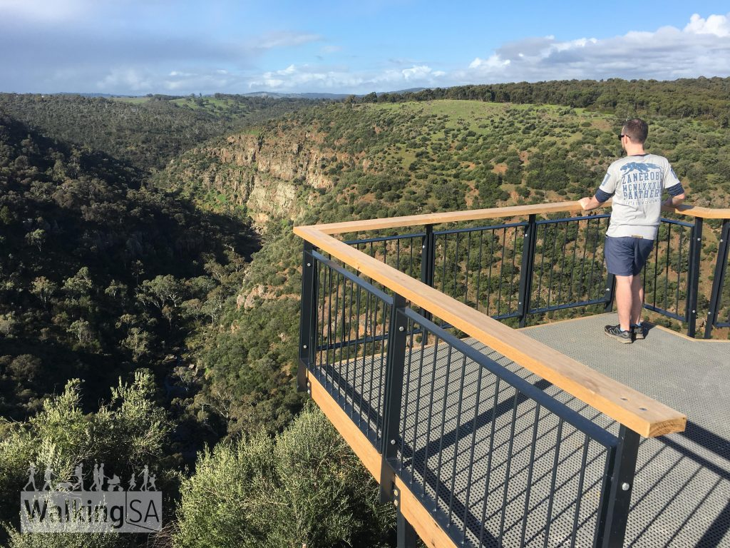 Taking in the views into Onkaparinga Gorge from the Punchbowl Lookout. The walking trails and lookout were opened in August 2017