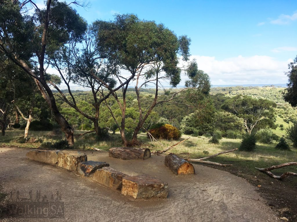The trail from the new carpark to the Punchbowl Lookout includes a resting point midway to take in the views