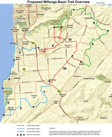 Map of proposed Willunga Basin Trail