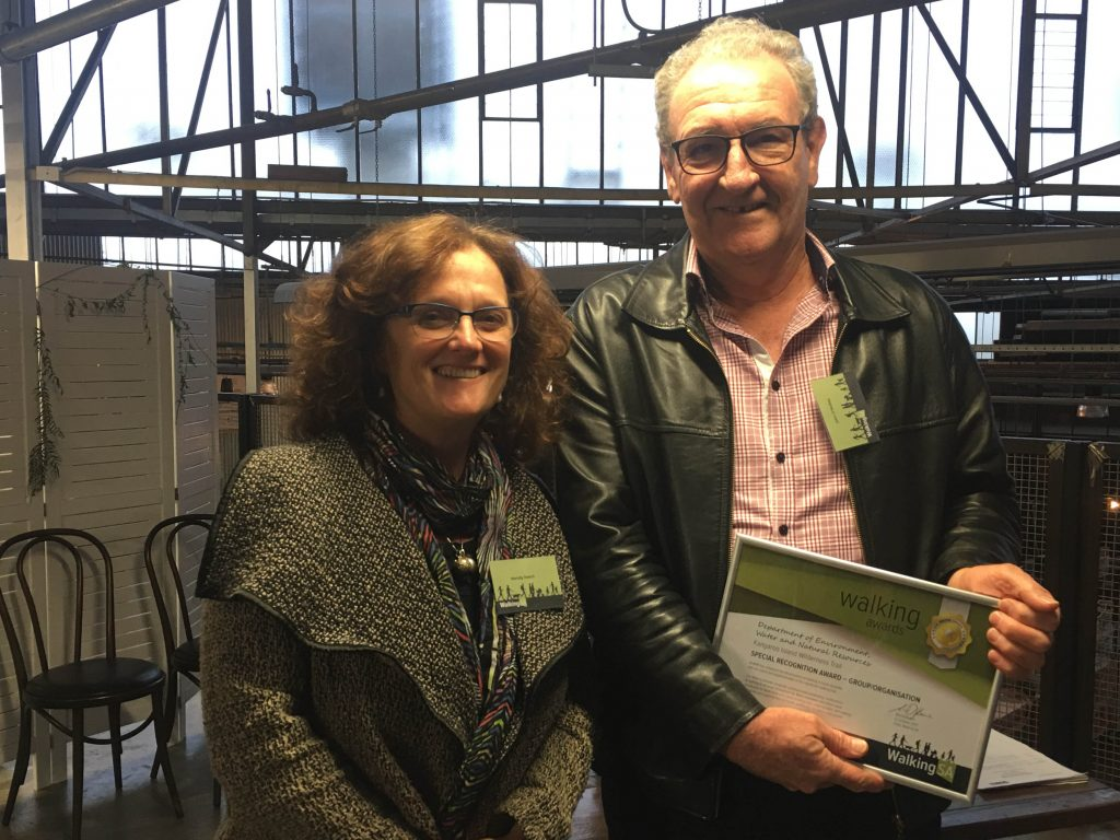 John O'Malley, Project Officer, accepting the Special Recognition Award – Group/Organisationon behalf of the Department of Environment, Water and Natural Resources for their work on theKangaroo Island Wilderness Trail.