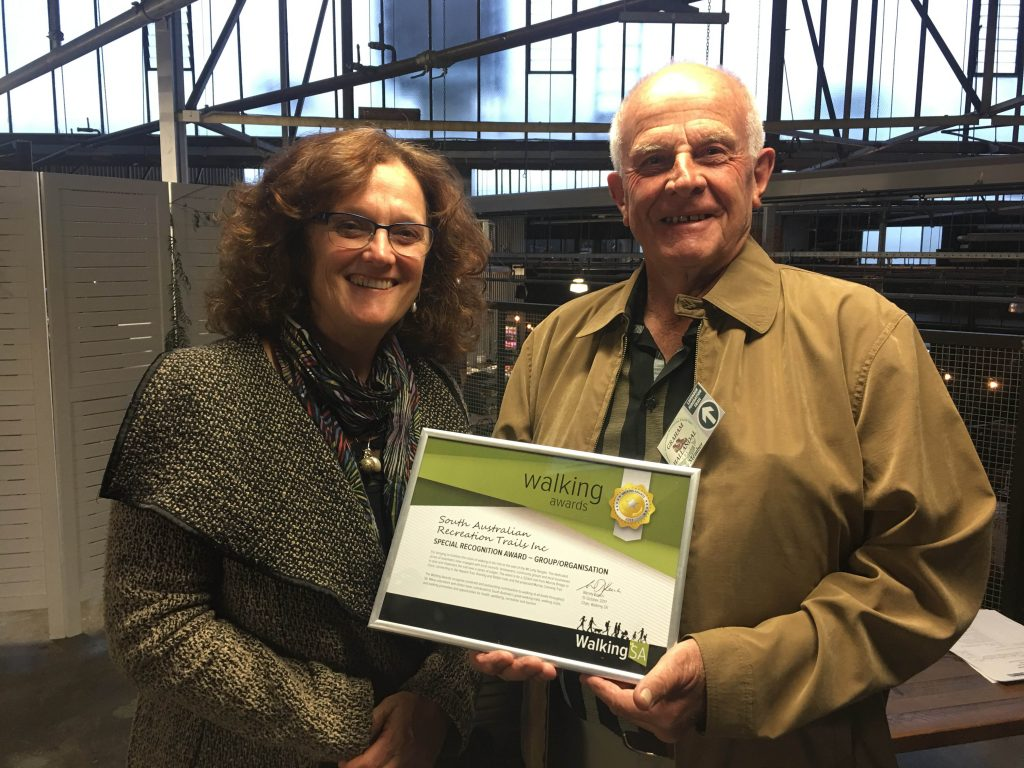 Graham Hallandal accepting the Walking Award for South Australian Recreation Trails Incorporated, Special Recognition Award – Group/Organisation