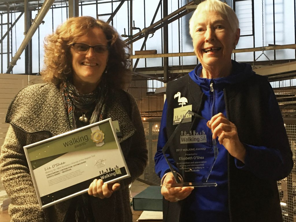 Liz O'Shea accepting her Walking SA Walking Award for Longstanding Contribution /Distinguished Service Award – Individual