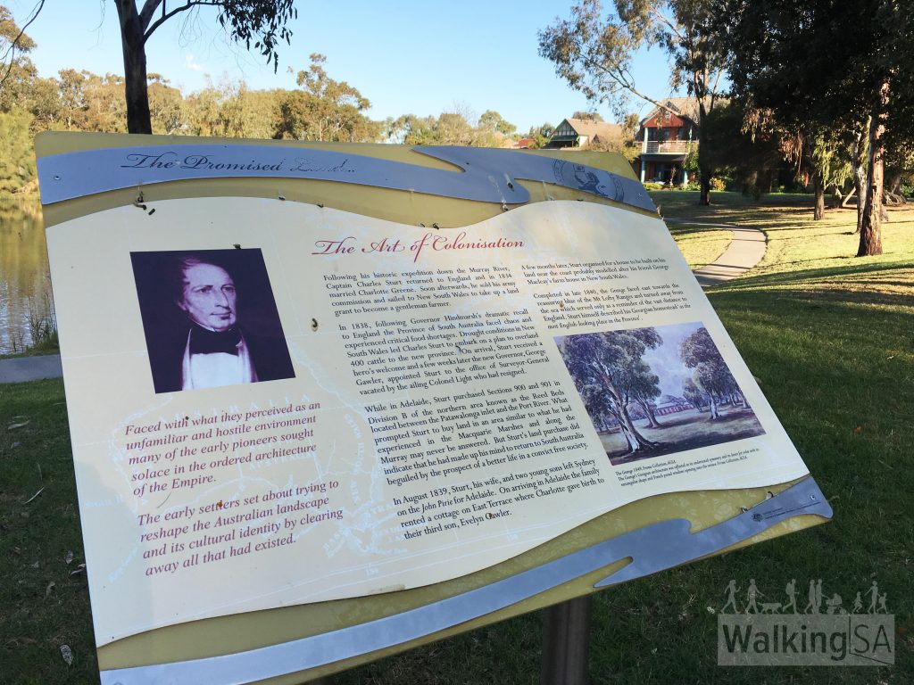 Interpretive signage outside the Charles Sturt Museum (between Jetty St and Beach St)