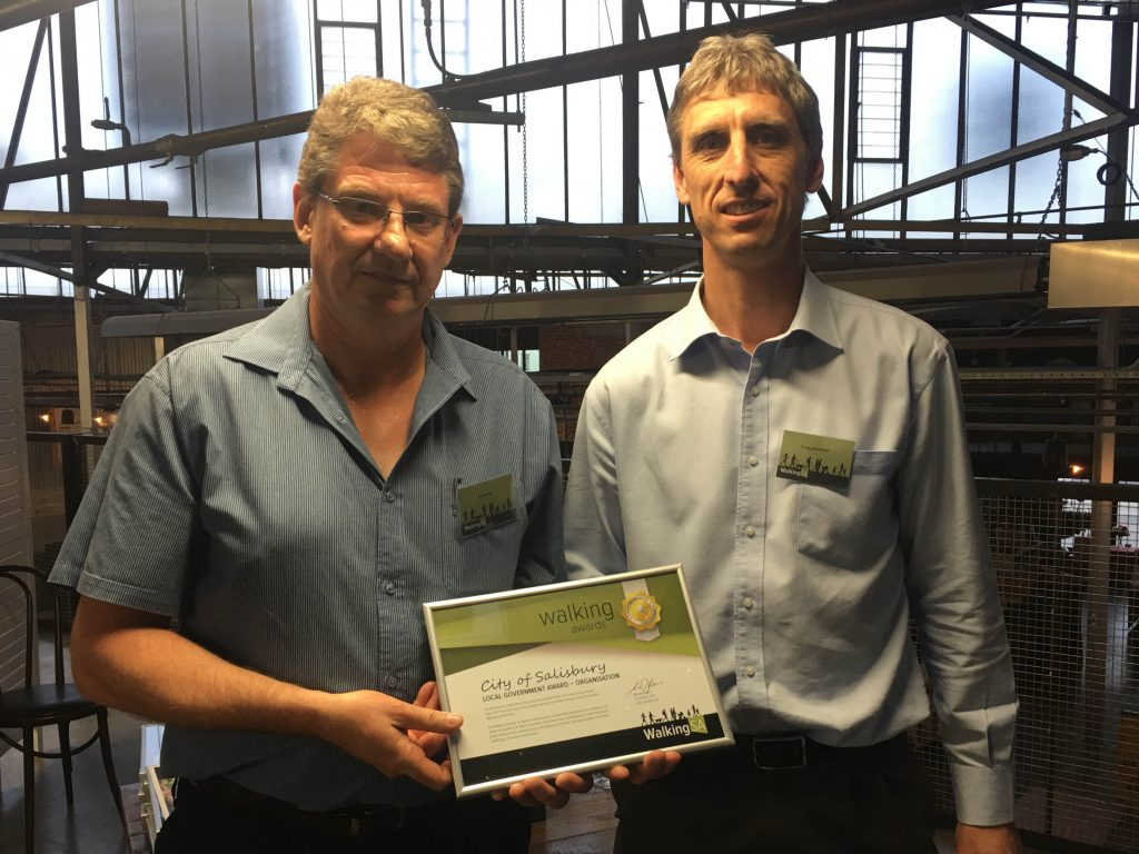 Jim Binder and Craig Johansen accepting the Walking Award for City of Salisbury's Local Government Award - Organisation