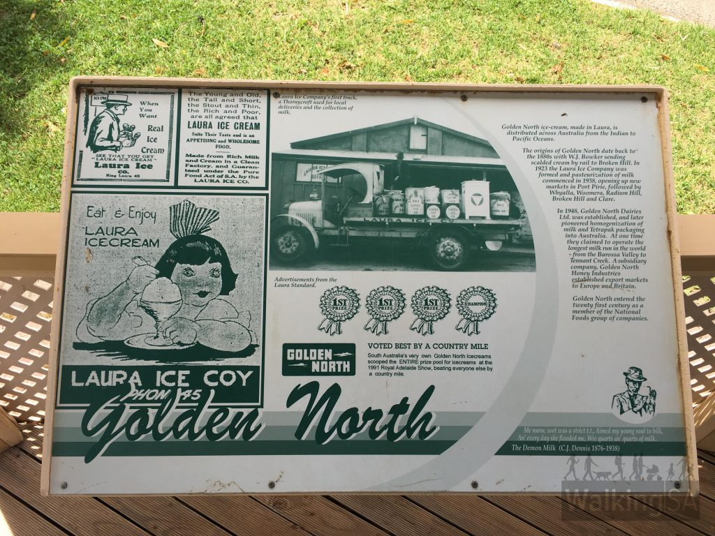 One of the interpretive sign, this one about Golden North icecream which origins date back to the 1880s in Laura