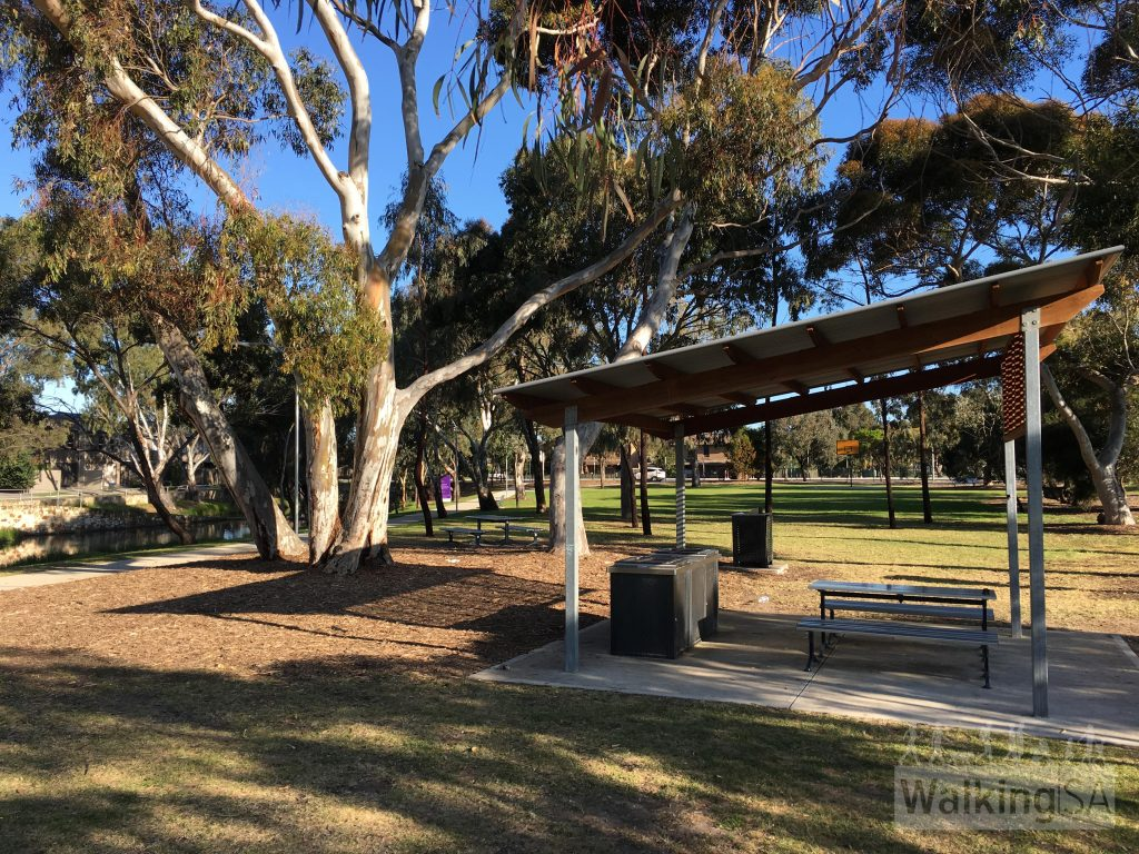 Picnic shelter at Kirkcaldy Reserve on the Grange Lakes Shared Use Path