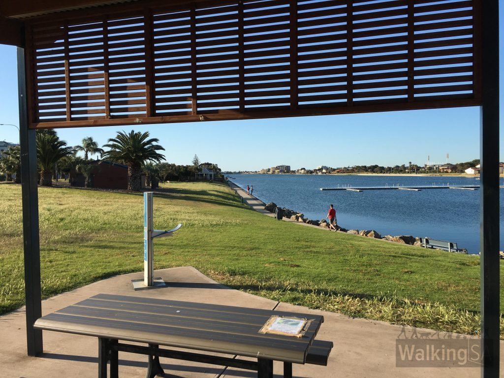 Picnic shelter, water fountain, playground and toilets at Inlet Reserve