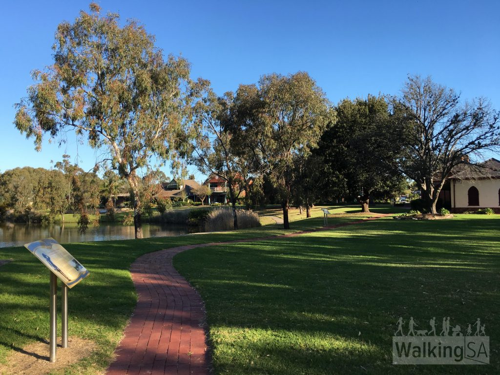 The section of the Grange Lakes Shared Use Path that goes past the Charles Sturt Museum (between Jetty St and Beach St) has not yet been completed (as on October 2017). Trail users can use this narrow path and a suburnam street to bridge the gap between the two completed sections