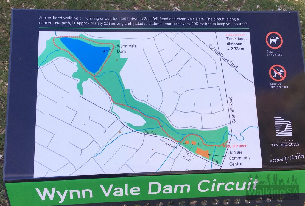 Map of the marked 2.8kmwalking trail from Grenfell Road to Wynn Vale Dam