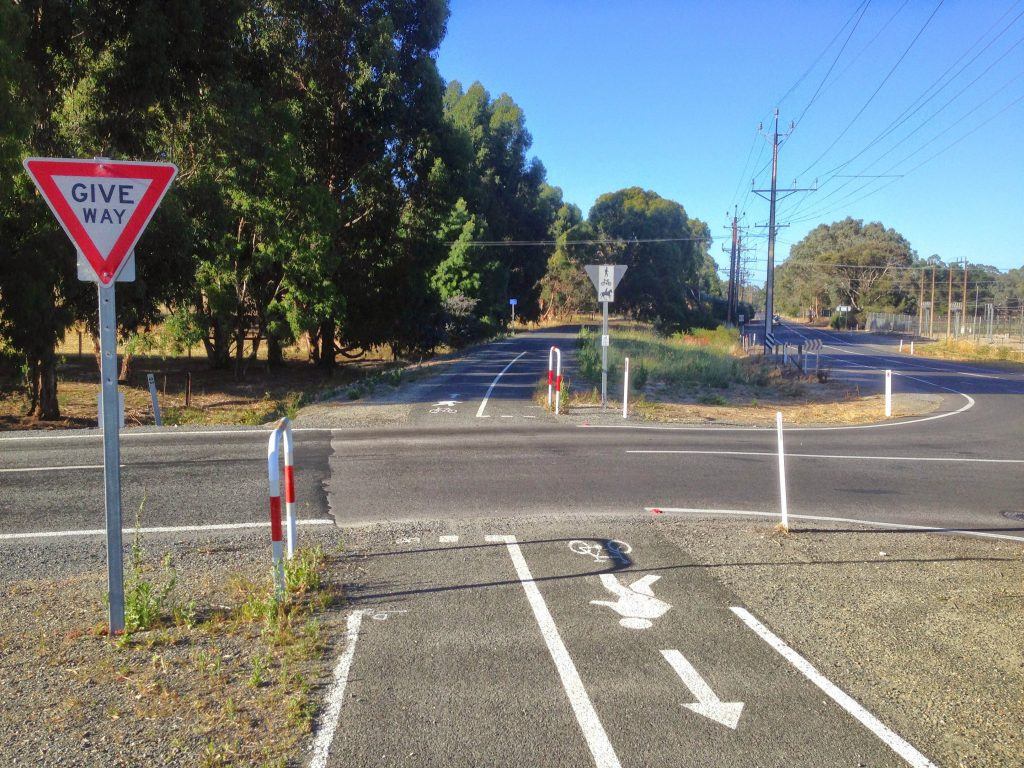 Road crossing for the Amy Gillett Bikeway
