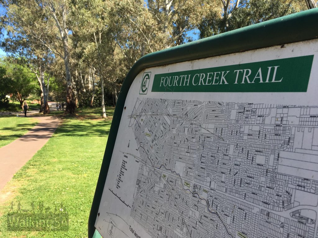 The Fourth Creek Trail follows Fourth Creek from Stradbroke Road, Morialta to the Torrens River