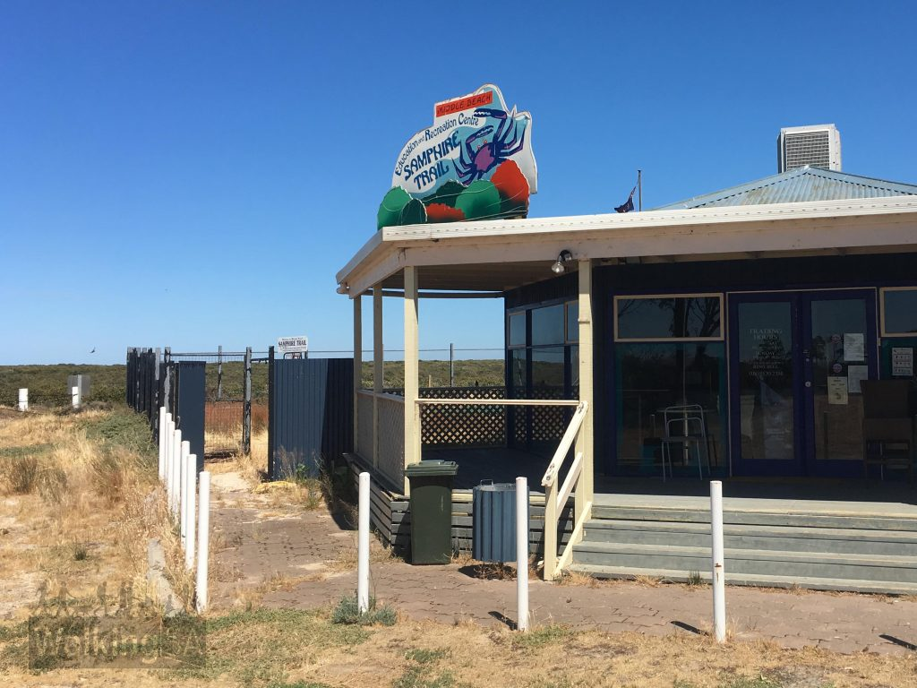 The Samphire Discovery Trail begins from the Education Recreation Centre/Kiosk at Middle Beach. Unfortunately, as at late 2017, the centre is closed and the area run down