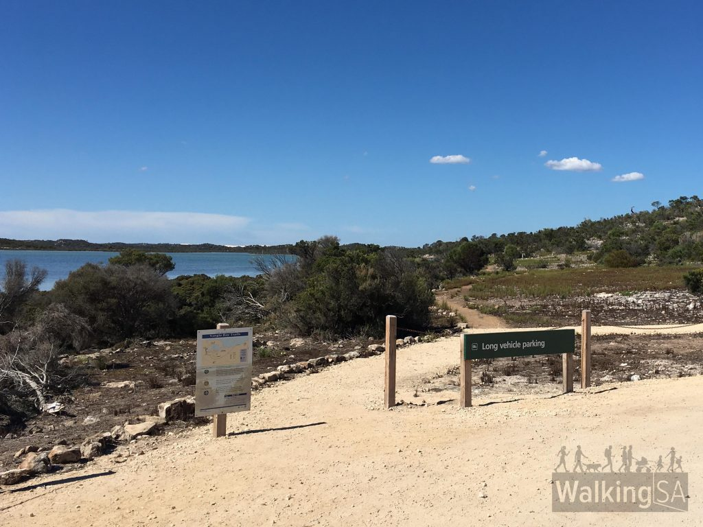 Trailhead of the Yangie Lookout Walk, and the much longer Yangie Island Hike and Long Beach Hike