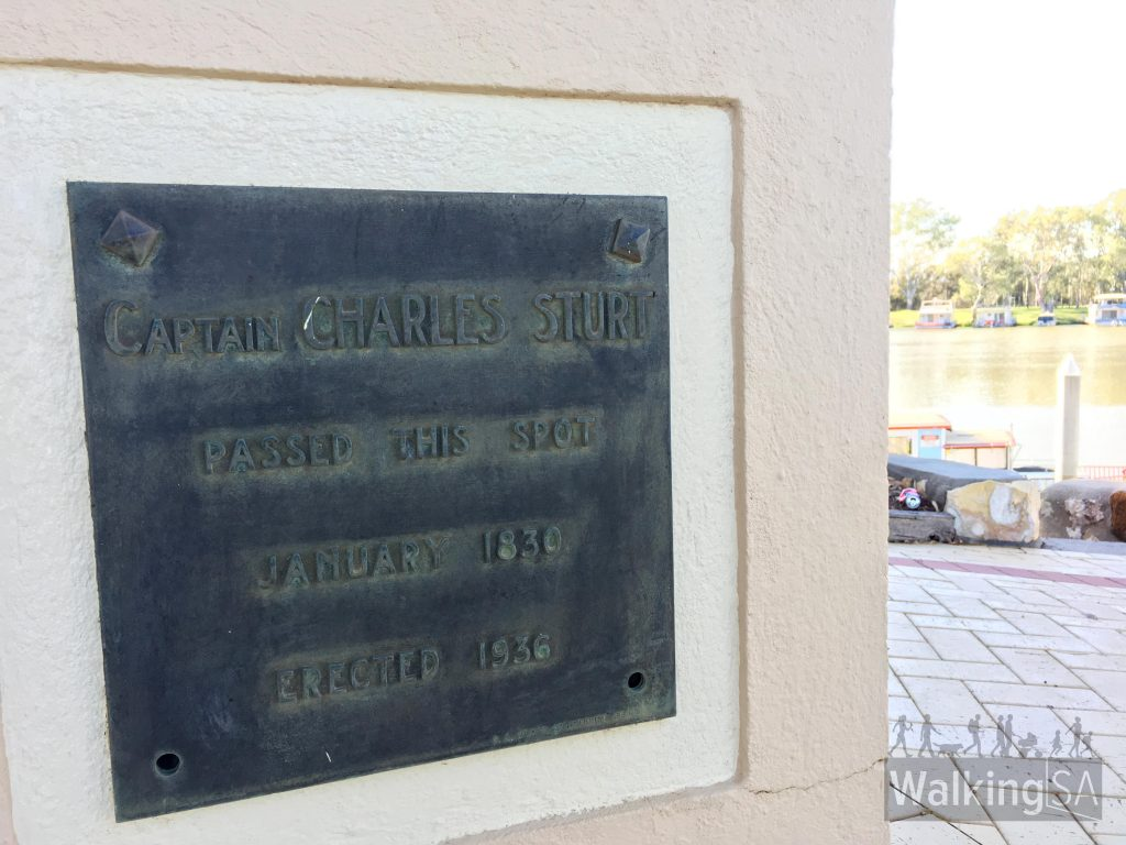 A plaque to mark the spot where Captain Charles Sturt passed when exploring the Murray in 1830