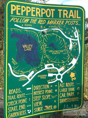 Detailed trailhead sign for the Pepperpot Trail, at the Leg of Mutton Lake Lookout