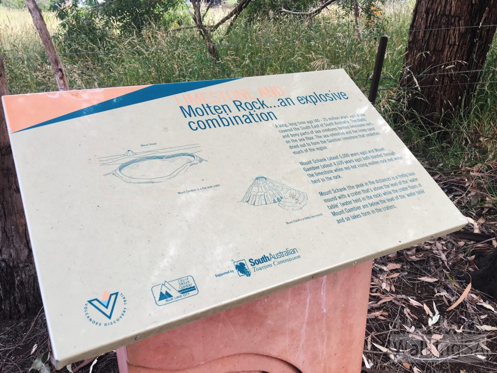 Interpretive signage about how Mt Schank and Mt Gambier were formed