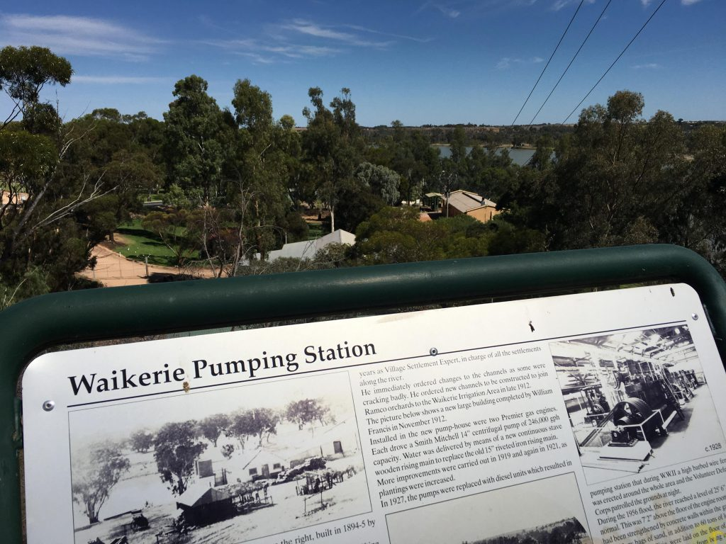 Interpretive signage on the Waikerie Heritage Walk, this one abou the Waikerie Pumping Station