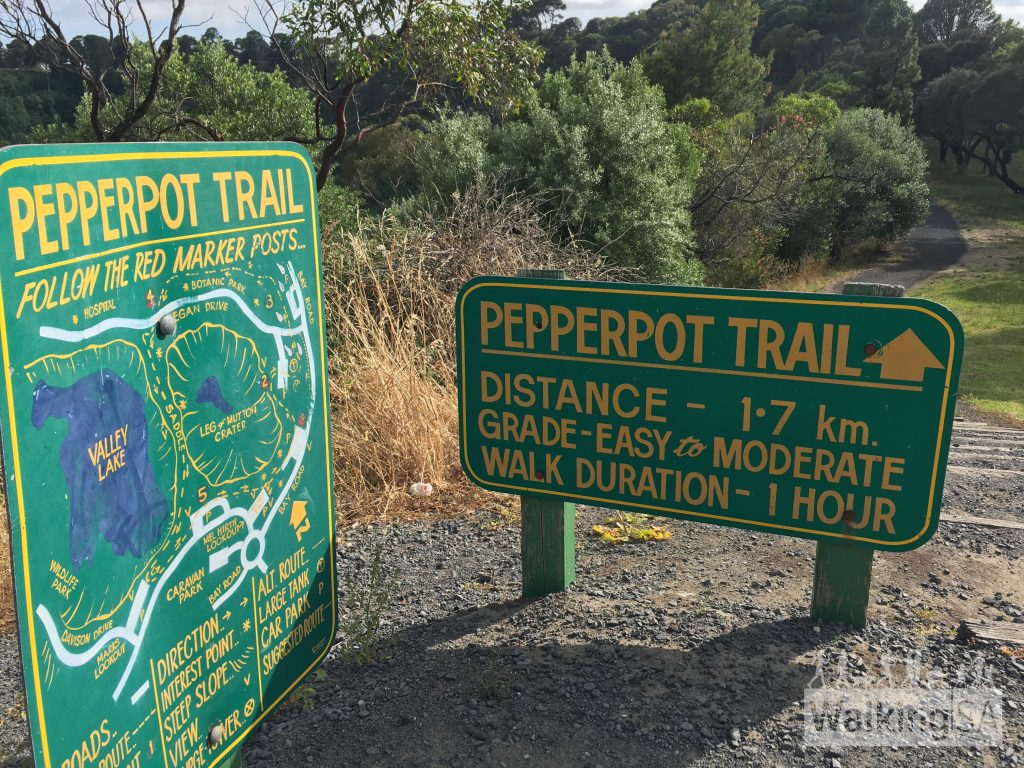 Trailhead sign for the Pepperpot Trail, at the Leg of Mutton Lake Lookout
