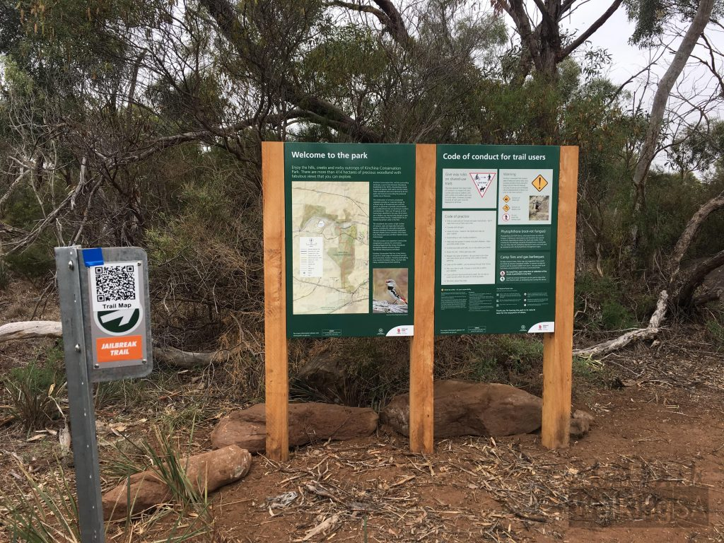 Trailhead signage on the Jailbreak Trail entrance to Kinchina Conservation Park