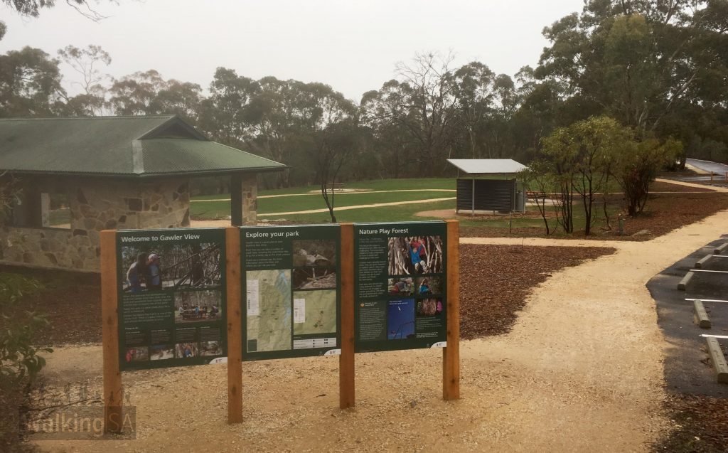 The Gawler View picnic area with shelters, bbqs, toilets and a nature play area