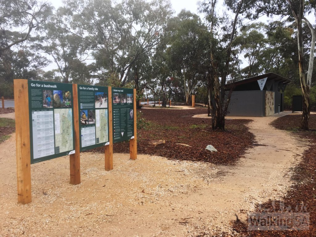Trailhead and toilets at Gawler View picnic area and nature play area