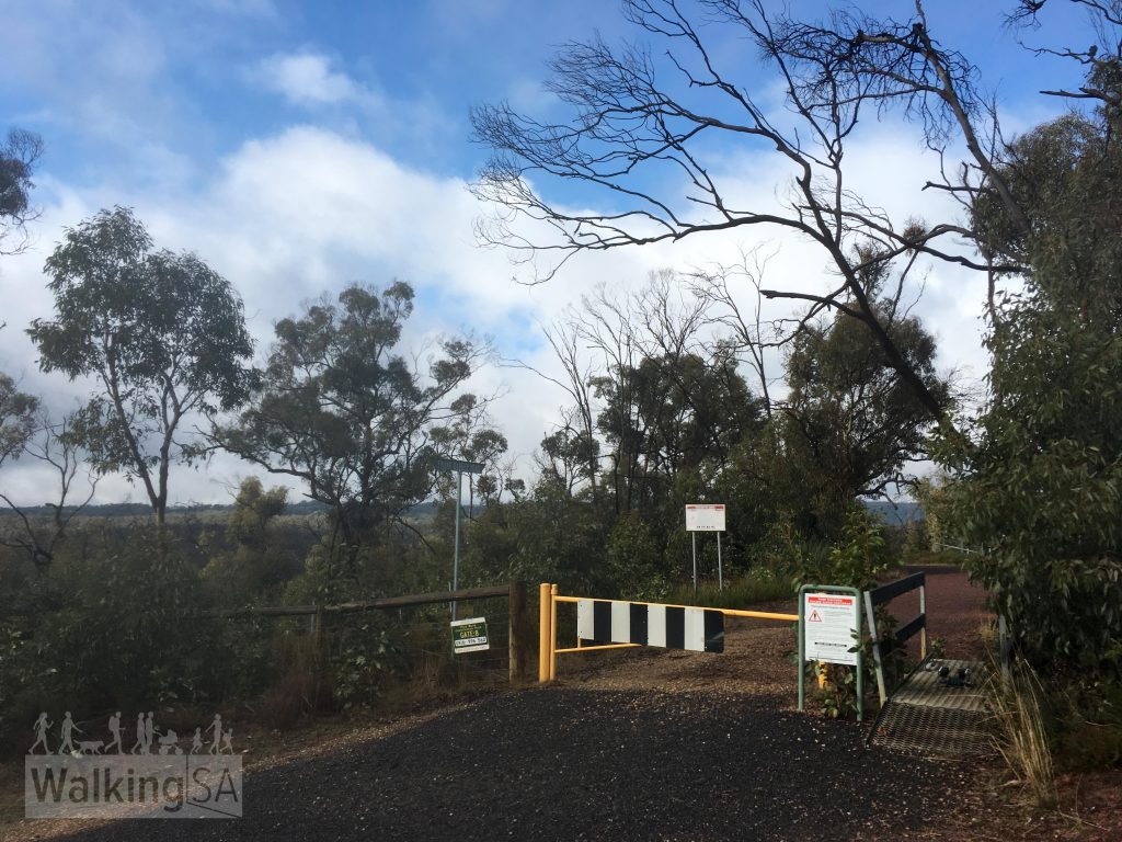 The Horseplay Trail follows a very short section of dead-end bitumen road on Frank Barker Road, this is the trailhead there