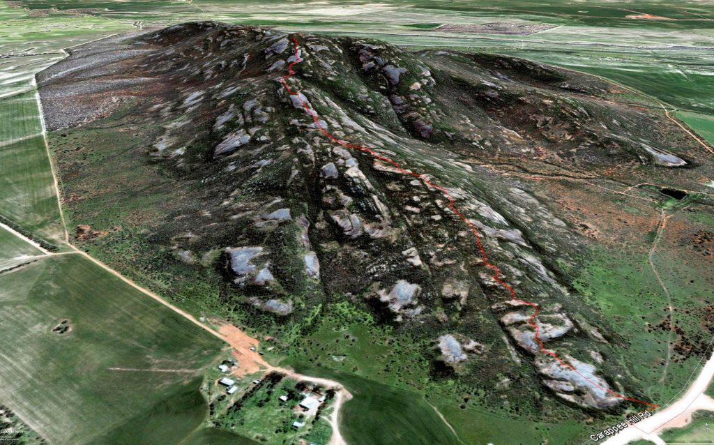 Aerial view of Carappee Hill with the Carappee Hill Hiking Trail marked in red
