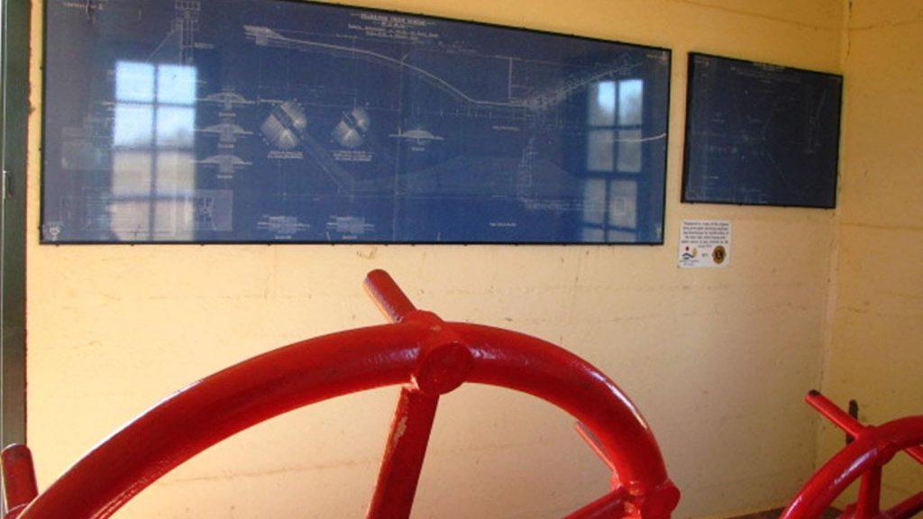 Inside the restored wheelhouse at Yeldulknie Reservoir