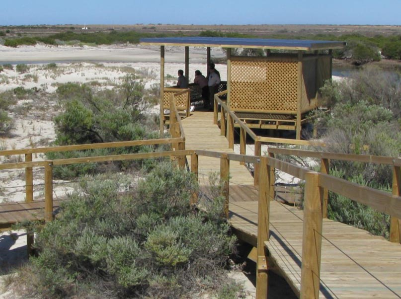 Shelter at creek mouth on the Arno Bay Estuary Boardwalk