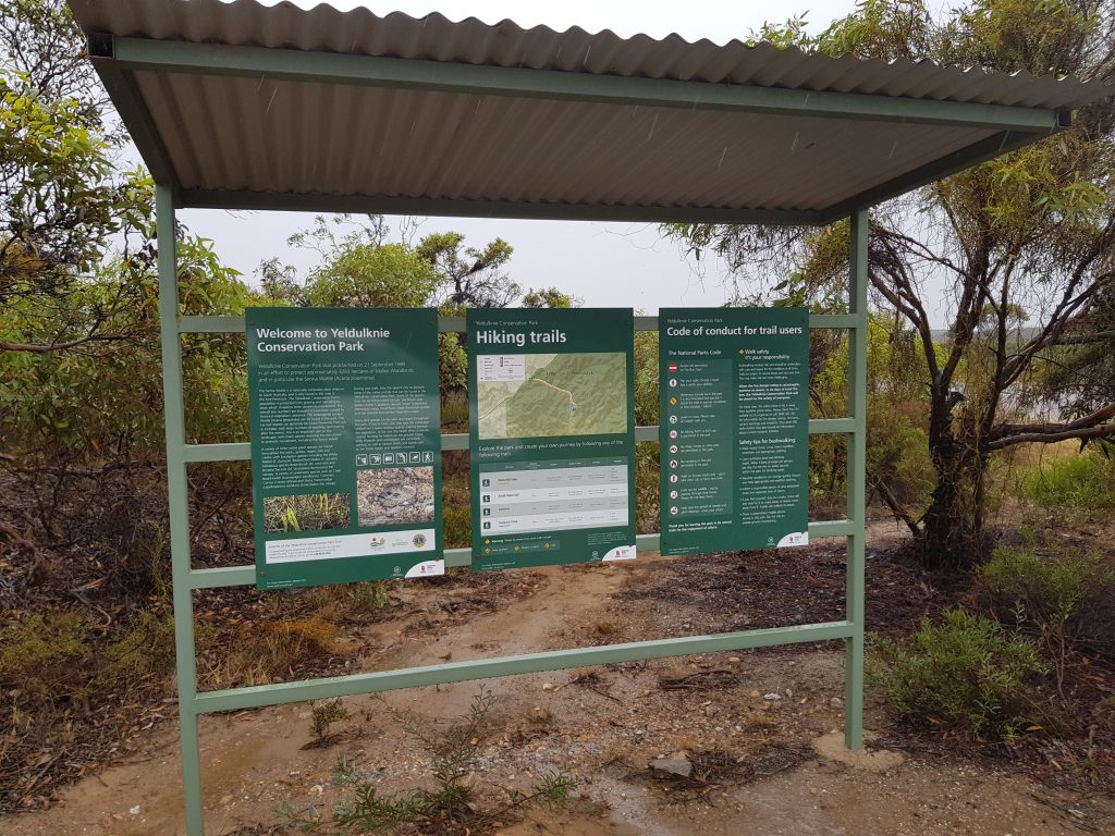 Trailhead sign at the Mangalo Rd carpark for the Yeldulknie Conservation Park Hiking Trail