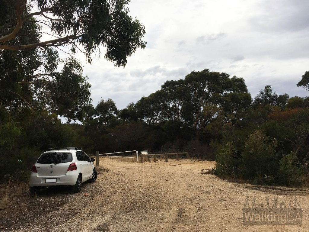 The carpark and trailhead at the western end of the park, where Haines Road reaches a dead-end