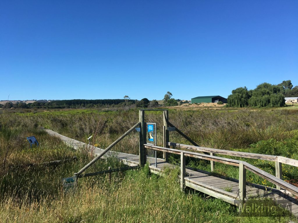 Trailhead of the Mt Compass School Swamp wetlands on Arthur Road