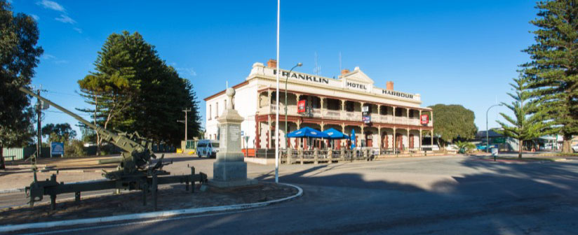 Franklin Harbour Hotel. The single storey was built in 1881. Mr Edward Speed bought the Hotel in 1897 and a second storey was completed in 1907. Some of the first church services were held in the Hotel prior to the establishment of a church.