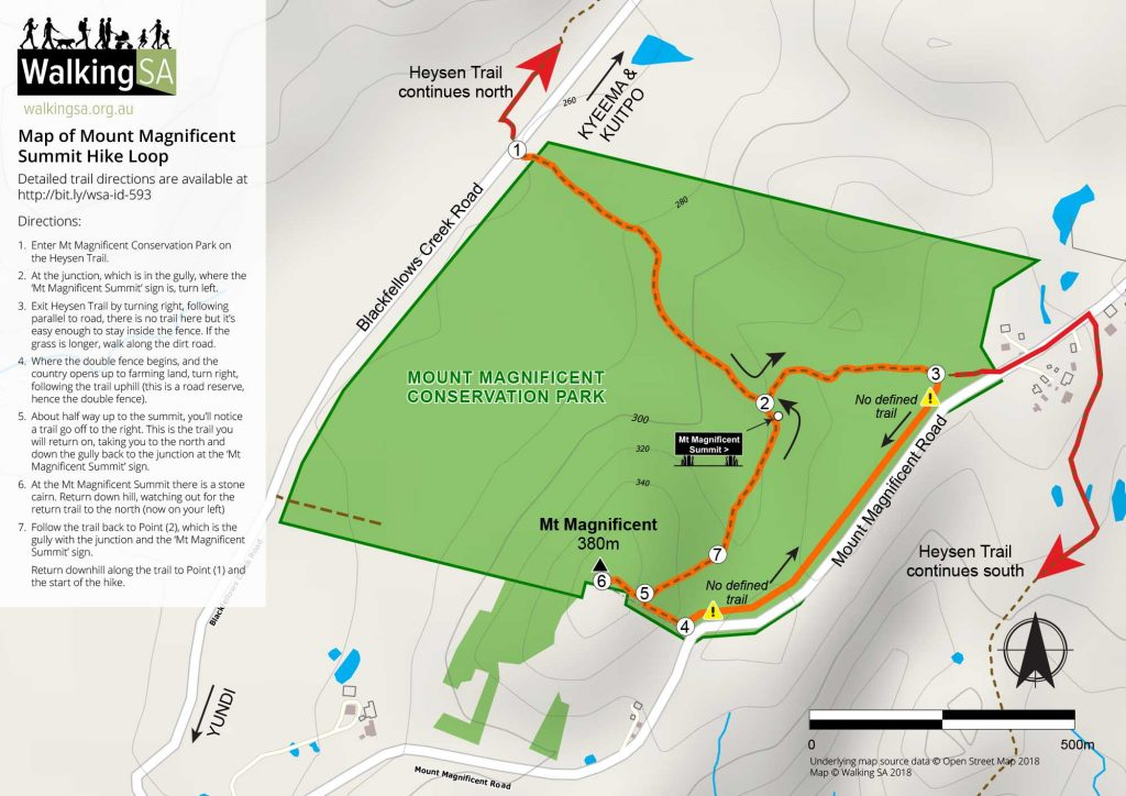 Map of Mount Magnificent Summit Hike Loop