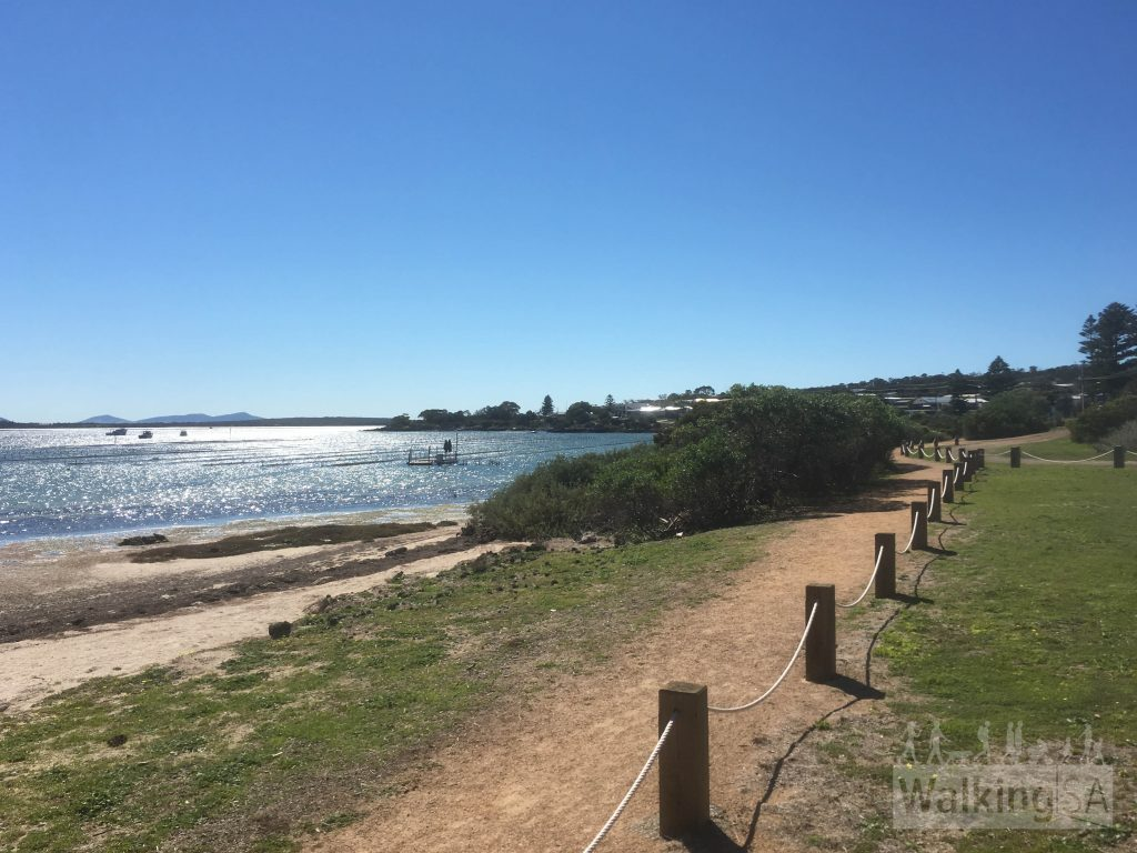 The Oyster Walk follows the foreshore in the town of Coffin Bay