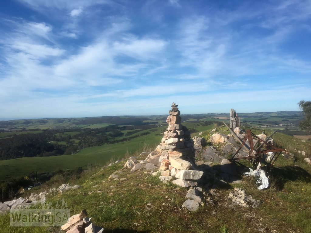 The cairn at the summit of Mt Magnificient