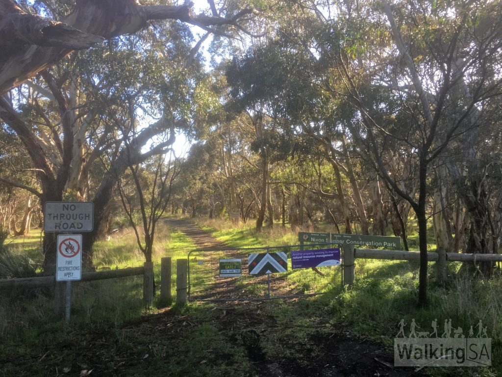 The entrance to Nixon-Skinner Conservation Park is via Gate 1 just off Main South Road