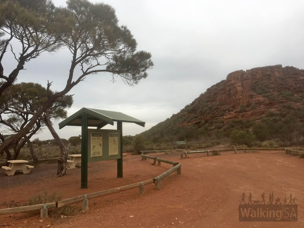 Trailhead of the Wild Dog Hill Hike near Whyalla