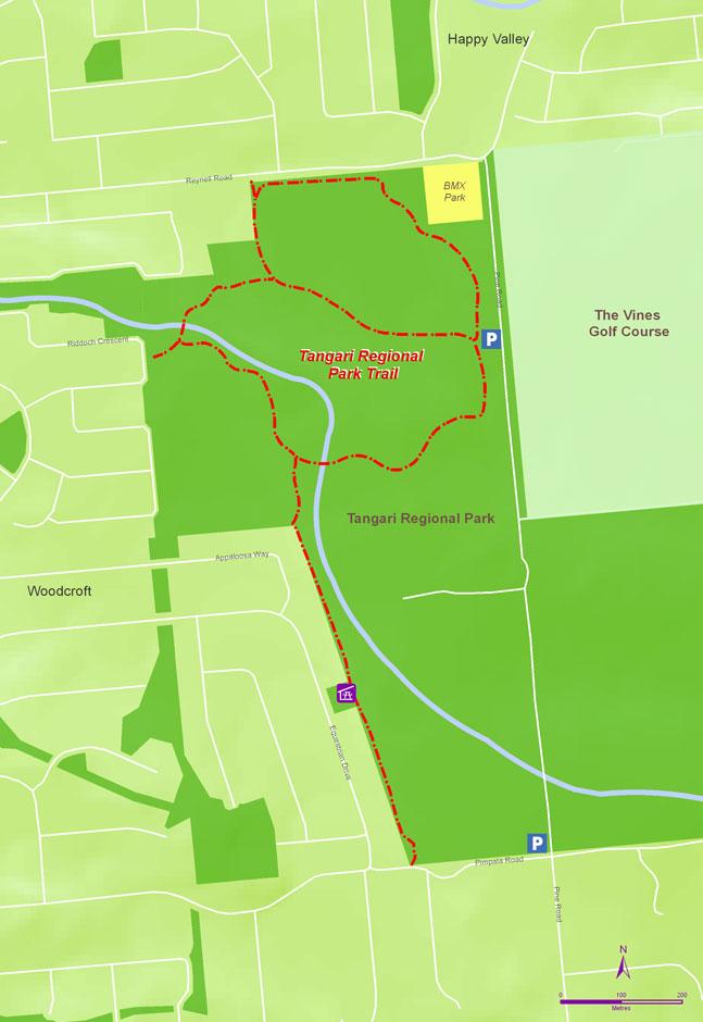 Map of Tangari Regional Park Trails