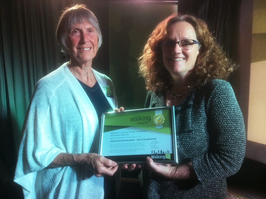 Annette Humphries accepting the Walking Award on behalf of the National Trust of South Australia – Hahndorf Branch, awarded for the upgrade and promotion of Pioneer Women's Trail. 2018 Award: Special Recognition Award – Group/Organisation