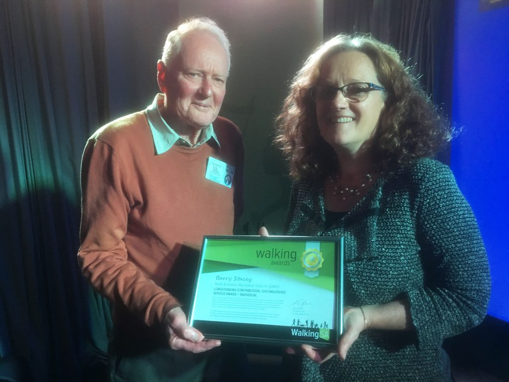 Barry Stacey accepting his Walking Award for Long Standing Contribution/Distinctive Service Award - Individual for contributions in developing the Lavender Federation Trail