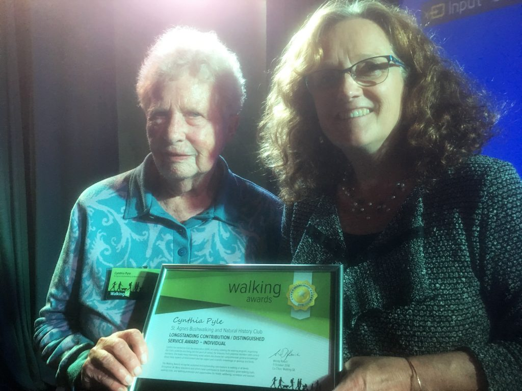 Cynthia Pyle accepting Walking Award for Long Standing Contribution/Distinctive Service Award - Individual for contributions working with St Agnes Bushwalking group