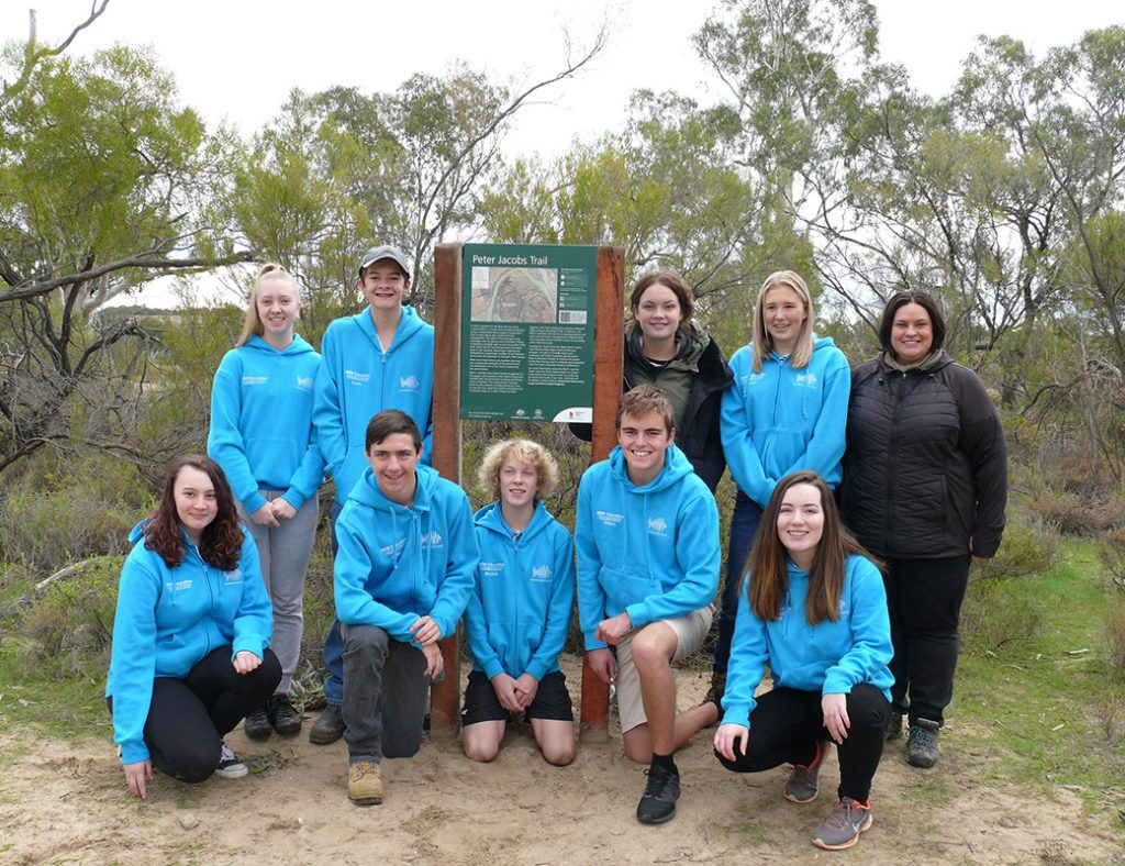 River Murray Youth Council (RMYC) members pictured at the Maize Island Lagoon Conservation Park's 2018 launch of a new walking trail, back (from left) Accacia Verco, Kaleb Ivanovic, Ayla Reid, Kirra Demtchuk and Natural Resources SA Murray-Darling Basin education officer Bec Stevens. Front (from left) Amy Raines, Callum Isaacs, Mitchell Kroemer, William Gillett and Grace Nayda.