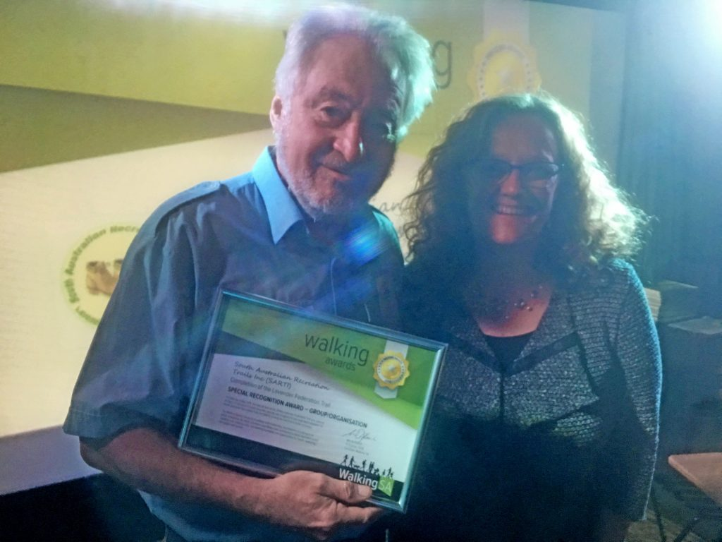 South Australian Recreation Trails Inc (SARTI) Chair Person Chris Bushell accepting the Walking Award for the completion of the Lavender Federation Trail. Award: 2018 Special Recognition Award – Group / Organisation.