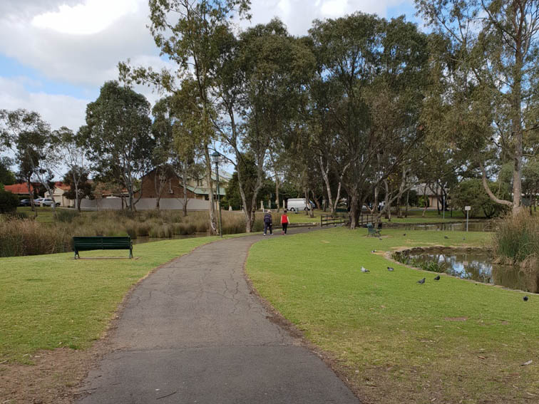 Walking in Roy Amer Reserve in Oakden. The trail route is suitable for dog walking, is pram friendly, wheelchairs and walking.