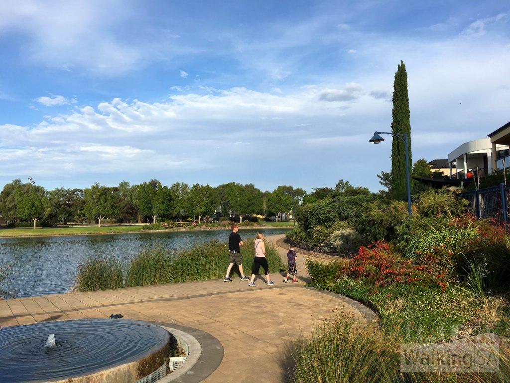 Walking the loop around the lake at Mawson Lakes