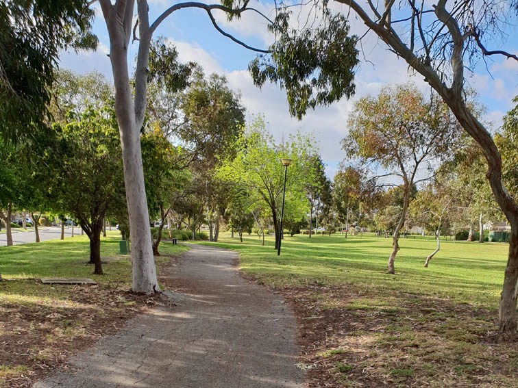 Walking trail through Roy Amer Reserve in Oakden