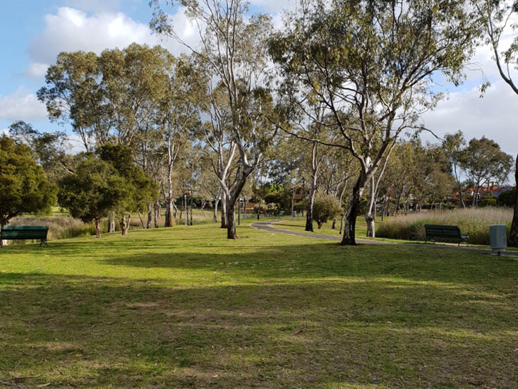 Walking trails through Roy Amer Reserve in Oakden
